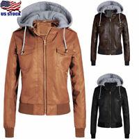 Fashion Women PU Leather Jacket Motorcycle Biker Zip Hooded Coat Winter Outwear