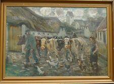 ANDERS HUNE (1894-1968) BAUERNHOF SZENE MIT KÜHE HÜHNER & ENTEN /ÖLGEMÄLDE
