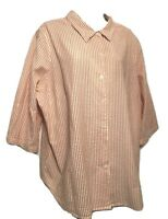 Scandia Woods Women's Blouse Plus 2X Striped 3/4 Sleeve Cotton Button Down Shirt