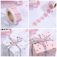 Rund Dekoration Pink Sticker Etiketten mit Siegel Vielen Dank Aufkleber Rolle