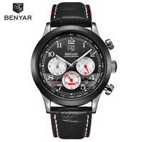 BENYAR Chronograph Genuine Leather Band Men Business Quartz Wrist Watch Gift Box