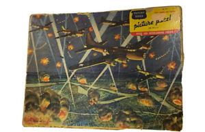 """1943 WW2 Jig Saw Puzzle Victory Series """" Night Bombing Over Germany"""" Pcs Missing"""