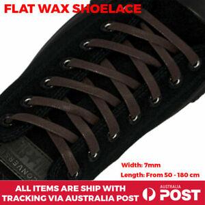 Shoelace Flat Dark Brown Wax Bootlace Nike Dr Martin Adidas Converse Reebok 7mm