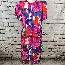 Vintage 1980s Flora Kung New York Floral Button Down Tulip Silk Dress Size 14