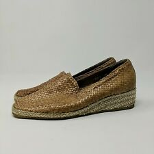 André Assous Espadrilles Sz 7 7.5 Wedge Loafer Slip On Woven Weave Braided Spain