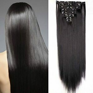 SEGO Extension a Clip Cheveux Rajout Syntetique pas Cher Lisse - 58 cm Noir Fonc