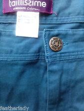 La Redoute PETROL BLUE slim fit skinny stretch trousers UK 22 EU 50 30L NEW