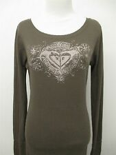 ROXY by QUIKSILVER green thermal knit shirt top sz L womens #1000