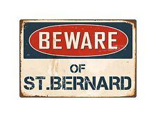"Beware Of St.Bernard 8"" x 12"" Vintage Aluminum Retro Metal Sign VS402"