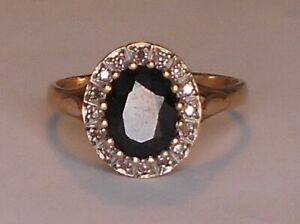 Sapphire & Diamond Ring 9ct Yellow Gold Ring Valuation $1,500 size 9 1/4 R 1/2