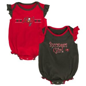 NFL TAMPA BAY BUCCANEERS BABY GIRL ONE PIECE CREEPER SET 2-PACK 3-6 MONTHS SIZE
