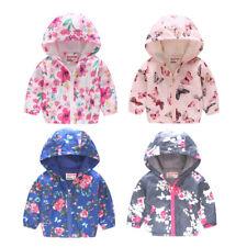 Girl Boy Kids Coat Floral Printed Hooded Coat Casual Hoodies Jacket Outwear Tops
