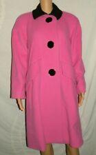 VTG Womens ILIE WACS Heavy 100% Wool Shocking Pink Long Winter Coat sz 10 M/L