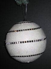 Set di Due Palle Natale Accessori 11,5 cm Bianco/Argento Nr.00079 Nuovo