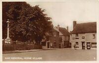 Vintage Kent Real Photo Postcard, HERNE VILLAGE War Memorial AF0