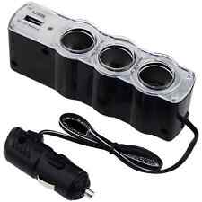 Car Cigarette Lighter 3 way Socket Splitter with 1 USB port