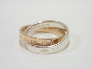 TIFFANY & CO. sterling silver / 18k rose gold 1837 interlocking circles ring