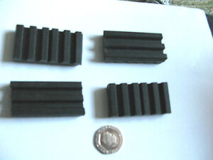 4 x Ribbed Grooved Anti vibration Rubber Pad 25x50x10mm Reduce shock slip mat