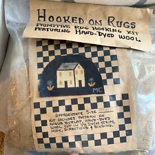 Hooked on Rugs Vintage 1990 Wool Primitive Hooking House Flowers Latch Hook Kit