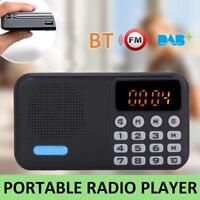 DAB FM Pocket Digital Radio Receiver Bluetooth MP3 Player Display USB/ TF Black