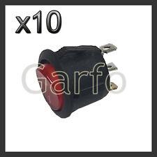 10X Interruptor Basculante Redondo Rojo iluminado 3 polos con luz 220V