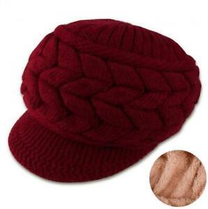 Slouchy Fleece Lining Knitted Plush Beanie Hat Stretchy Wool Warm Baseball Cap
