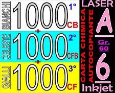 3000 FOGLI CHIMICA A6 COPIANTE CB BIANCO CF CELEST CFB GIAL STAMPA LASER INKJET