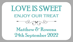 Mini Wedding Favour Labels Love Is Sweet Enjoy Our Treat Stickers Personalised