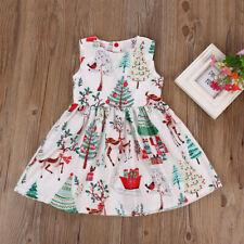 Toddler Kids Girl Christmas Dress Sleeveless Deer Party Tutu Dress Princess Xmas