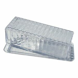 Acrylic Butter Dish with Cover, 2 Pack, Clear Crystal Design, Dishwasher Safe