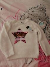 Girls YD Primark Pink Sparkly Ribbed Knitted Style Jumper Age 3-4 Years