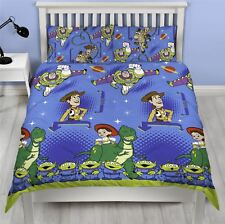Toy Story Friends Double Duvet Cover Set Boys Blue - 2 in 1 Design