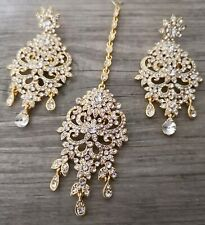 Uk Bollywood big Indian Earring Tikka Set head peice gold/silver Crystal jewelry