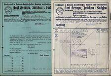 Zwickau Sa., 2 Vouchers 1937/39, Car-oils-and gearbox fats-trade Carl Brim