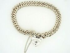 Sterling Silver Chain Bracelet with Heart Padlock Clasp Fine Jewellery