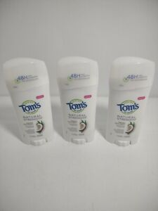 (3 PACK ) 48H TOM'S OF MAINE NATURAL STRENGTH FRESH COCONUT Deodorant 2.1 OZ