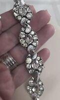 Lisner Signed Clear Rhinestone Silver Link Sparkle  Vintage Bracelet