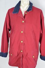 Cherokee Womens Small Red Navy Blue Trim Long Coat Jacket Warm Thick Button Down