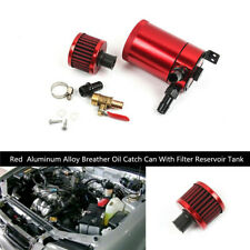 Red Engine Breather Oil Catch Can With Filter Reservoir Tank Set Aluminum Alloy