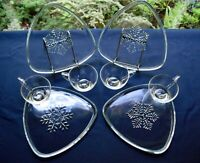 Indiana Colony Glass 4 Clear Snowflake Snack Luncheon Plate & Cup Sets