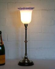 An Antique Brass Stick Column Table Desk Lamp Circa 1900 & Glass Lampshade