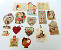 Antique Valentine Collection 14 Piece Estate Lot Vintage Diecut 1900's USA