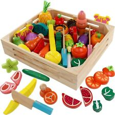 Cutting Cooking Toy Sets - Pretend Play Wooden Clean&Safe Kitchen by FAITHMOVEMT