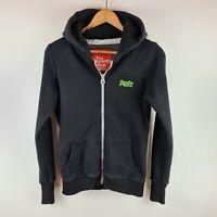 Superdry Full Zip Womens Black Hooded Fleece Lined Hoodie Top Jacket Size S