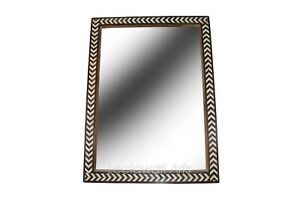 Indian Handmade Bone Inlay Aero Design Brown And White Color Mirror Frame