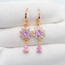 18K Yellow Gold Filled Fashion Pink Mystic Topaz  Sunflower Dangle Earrings