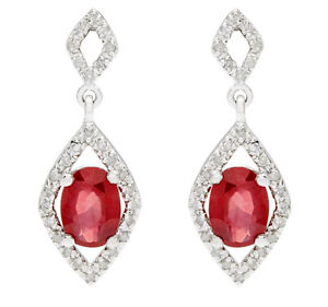10k White Gold Oval 2.50ct Genuine Ruby and Diamond Earrings