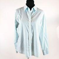 Foxcroft XL Aqua Blue White Stripe Wrinkle Free No-Iron Shirt Top
