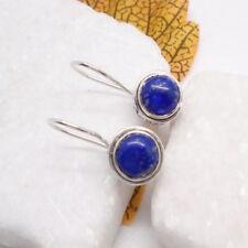 Lapislazuli rund blau Design Ohrringe Ohrhänger Haken 925 Sterling Silber neu