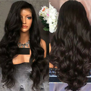 Black Long Curly Wavy Wig Brazilian Remy Human Hair Body Wave No Lace Front Wigs